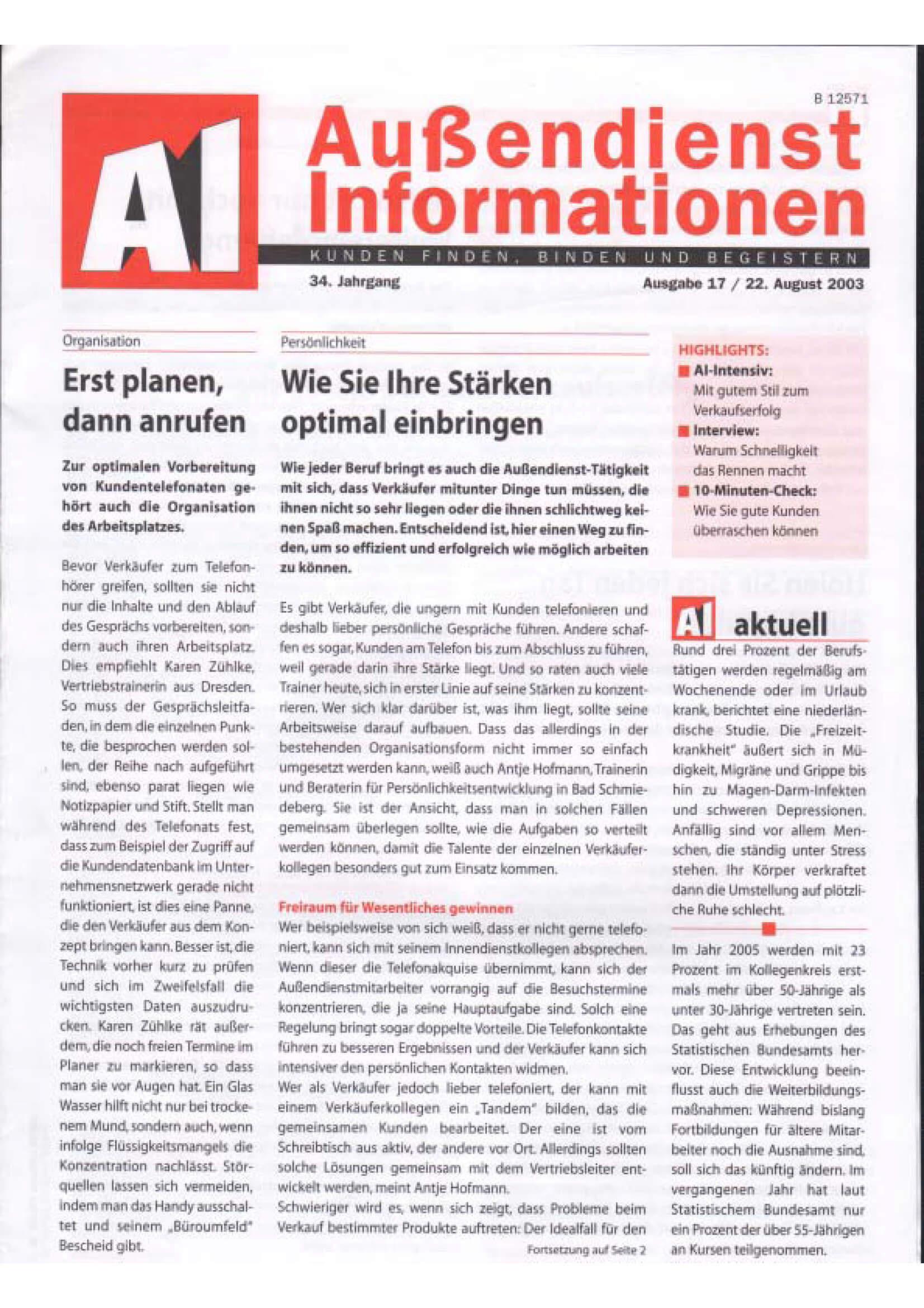 Aussendienst Informationen
